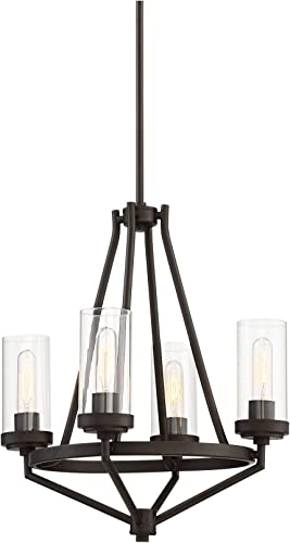 Kane Bronze Chandelier 18 1/2″ Wide Rustic Clear Glass 4-Light Fixture