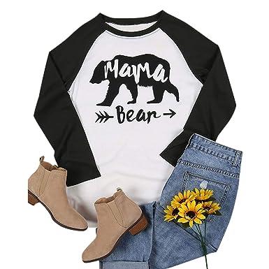 0b0160175 Mama Bear Raglan Long Sleeve T-Shirts Women Color Block O-Neck Top Graphic  Tee at Amazon Women's Clothing store: