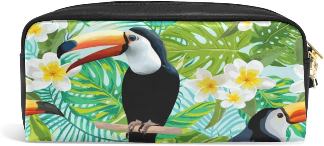 Linomo - Estuche de piel para lápices, diseño de hojas de palmera tropicales, con cremallera, para viajes, oficina, escuela