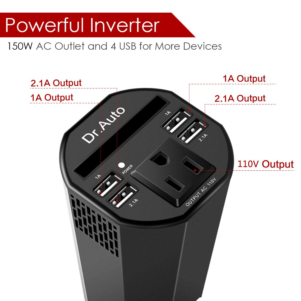 150W Power Inverter DC 12V to 110V AC Car Power Inverter with 4 USB Cup-shaped Car Charger by Dr.Auto (Image #2)