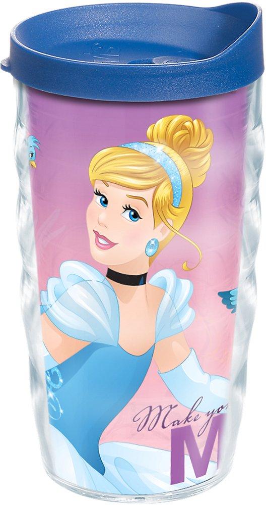 Tervis 1211918 Disney - Dream Big Cinderella Tumbler with Wrap and Blue Lid 10oz Wavy, Clear