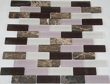 Restposten Fliesen Mosaik Mosaikfliese Glasmosaik Stein Braun Weiß - Restposten fliesen aussen