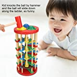 Fdit Colorful Wooden Knock Ball Ladder Toy