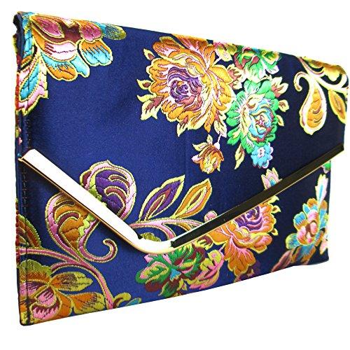 Jacquard Embroidered Floral Bag Flat Navy London Satin Xardi Clutch Sq5wtTxH