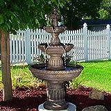 Cheap Sunnydaze Mediterranean 4-Tiered Outdoor Garden Water Fountain, 49 Inch Tall