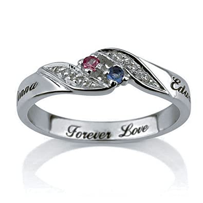 personalized engraved promise ring engagement promise ring 925 sterling silver couples ring with birthstones - Wedding Rings Amazon