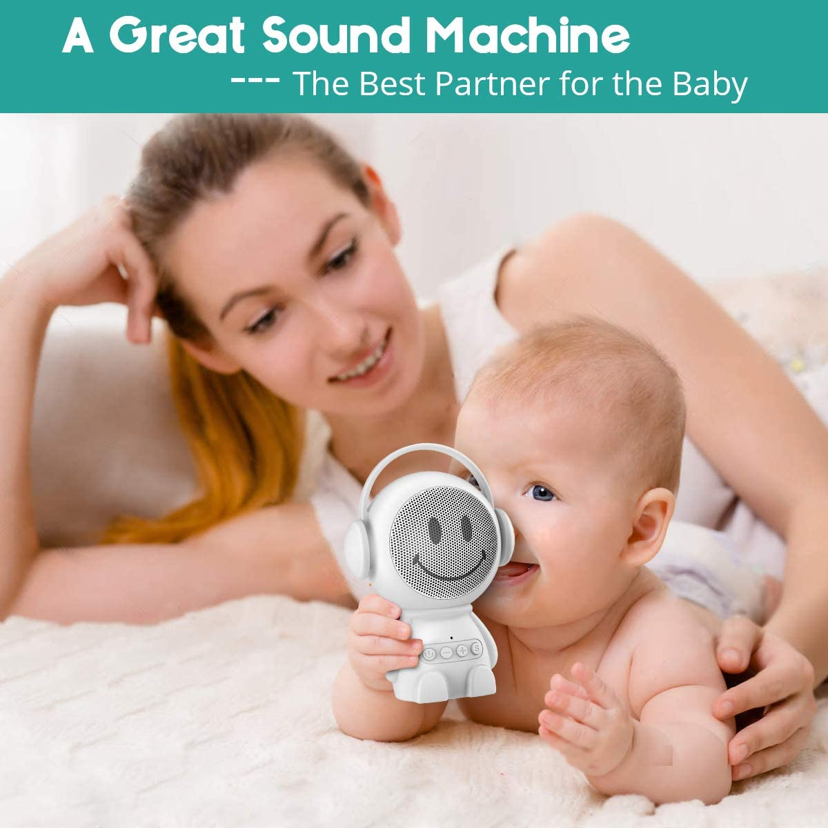 Sleepbox Portable Hushh Sound Machine for Baby Adults Rechargeable White Noise Machine with 30 Non Looping Soothing Sounds and Memory Function 32 levels of volume and Sleep Timer Sound Therapy.(White)