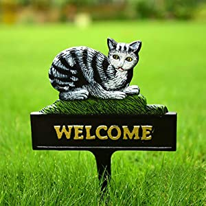 Sungmor Cast Iron Heavy Duty Garden Stake Cat Welcome Sign - Vintage Yard Standing Welcome Ground Decorative Sign - Colored Animal Statue Garden Ornament Outdoor Decoration - 1PC Pack & 12x8.3Inch