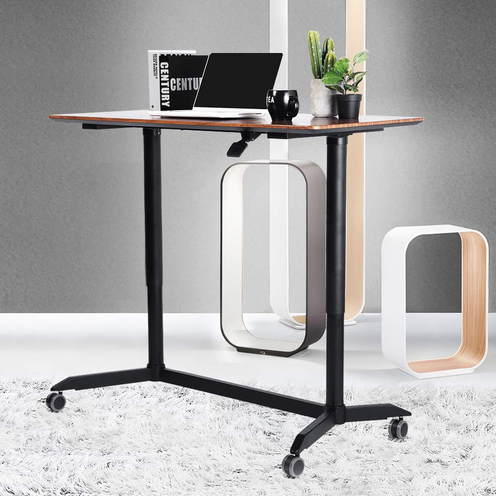 Aingoo Mobile Laptop Desk Adjustable Rolling Cart Pneumatic Sit-Stand Stand Up Desk Table (H29-41.9