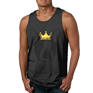 bdbaecff178c Amazon.com: Men Sleeveless T Shirts Simple Boston Terrier with Crown ...