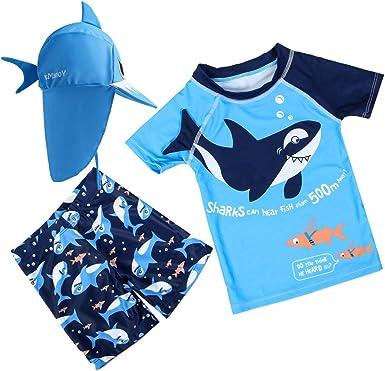 Baby Toddler Boys Two Piece Rashguard Swimsuit Kids Short Sleeve Sunsuit Swimwear Sets with Hat