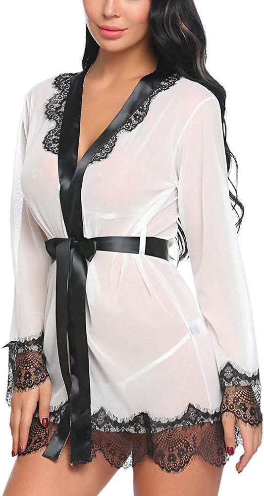 K-Youth® Kimono Batas Mujer Babydoll de Vestido de Kimono Sexy para Mujer Lencería de Encaje Tul Ropa de baño Robe Interior Bañador de baño Camisón Ropa de Dormir Tentación Pijamas: Amazon.es: Ropa