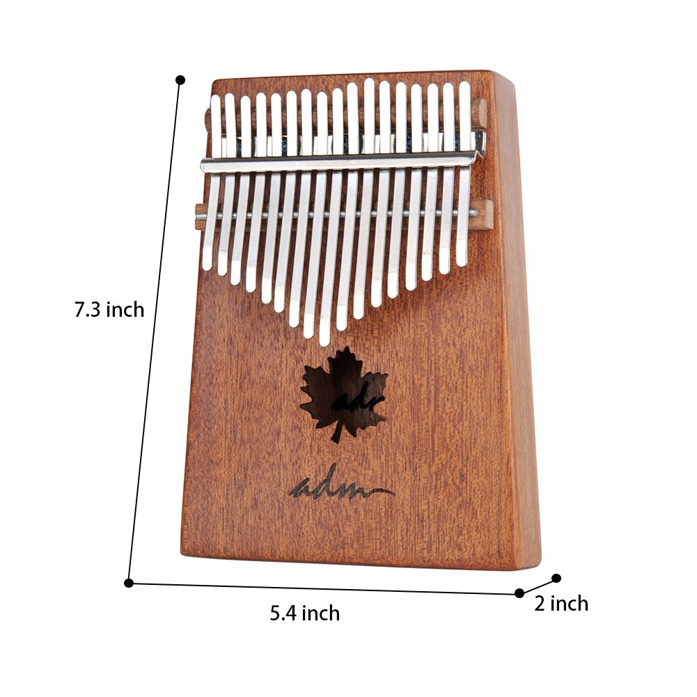 ADM Thumb Piano 17 keys Kalimba African Mahogany Mbira Maple Leaf Sound Hole with Music Book Tune Hammer and Bag by ADM (Image #6)