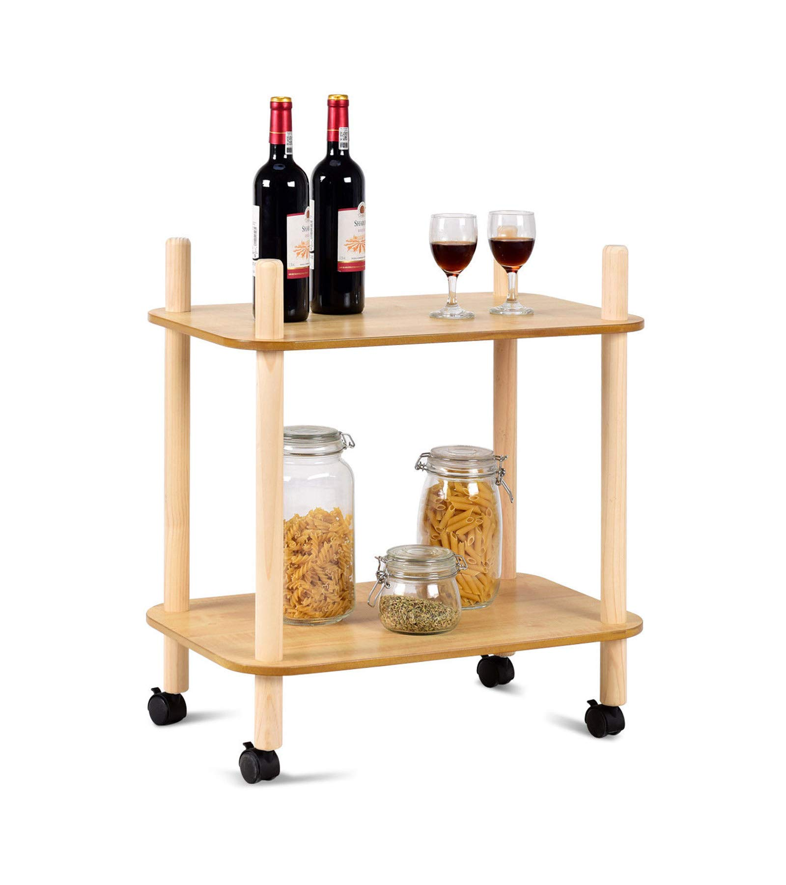 2 Tier Rolling Utility Storage Rack Serving Cart - 24'' L x 16'' W x 27'' H - Wine Rack with Wheels Kicthen Bar Dining Room Tea Wine Holder Serving Cart Furniture - Strong Bearing Capacity