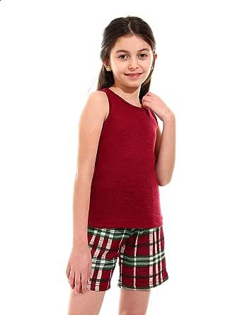 Kady Plain Sleeveless Round Neck T-shirt with Plaid Shorts Pajama Set for Girls