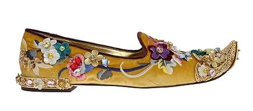 Dolce & Gabbana - Mocasines de Terciopelo para Mujer Dorado Dorado, Color Dorado, Talla