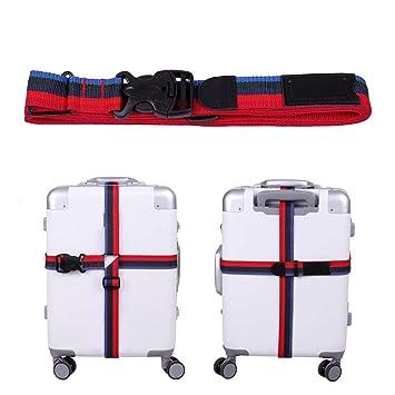 4x Plastic Release Buckle Adjustable Luggage Strap Belt Black Multicoloured