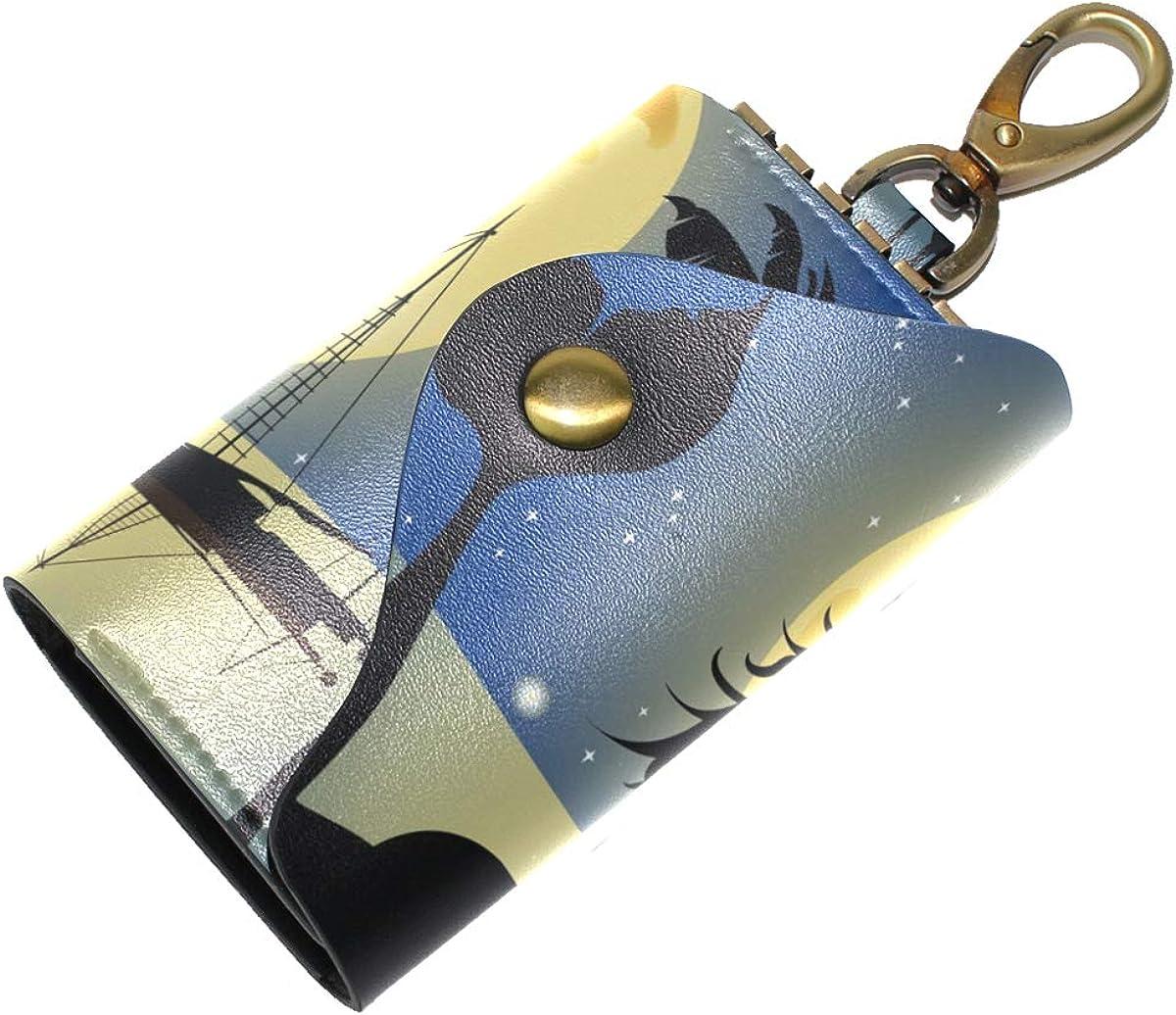 KEAKIA Mermaid Silhouette Leather Key Case Wallets Tri-fold Key Holder Keychains with 6 Hooks 2 Slot Snap Closure for Men Women