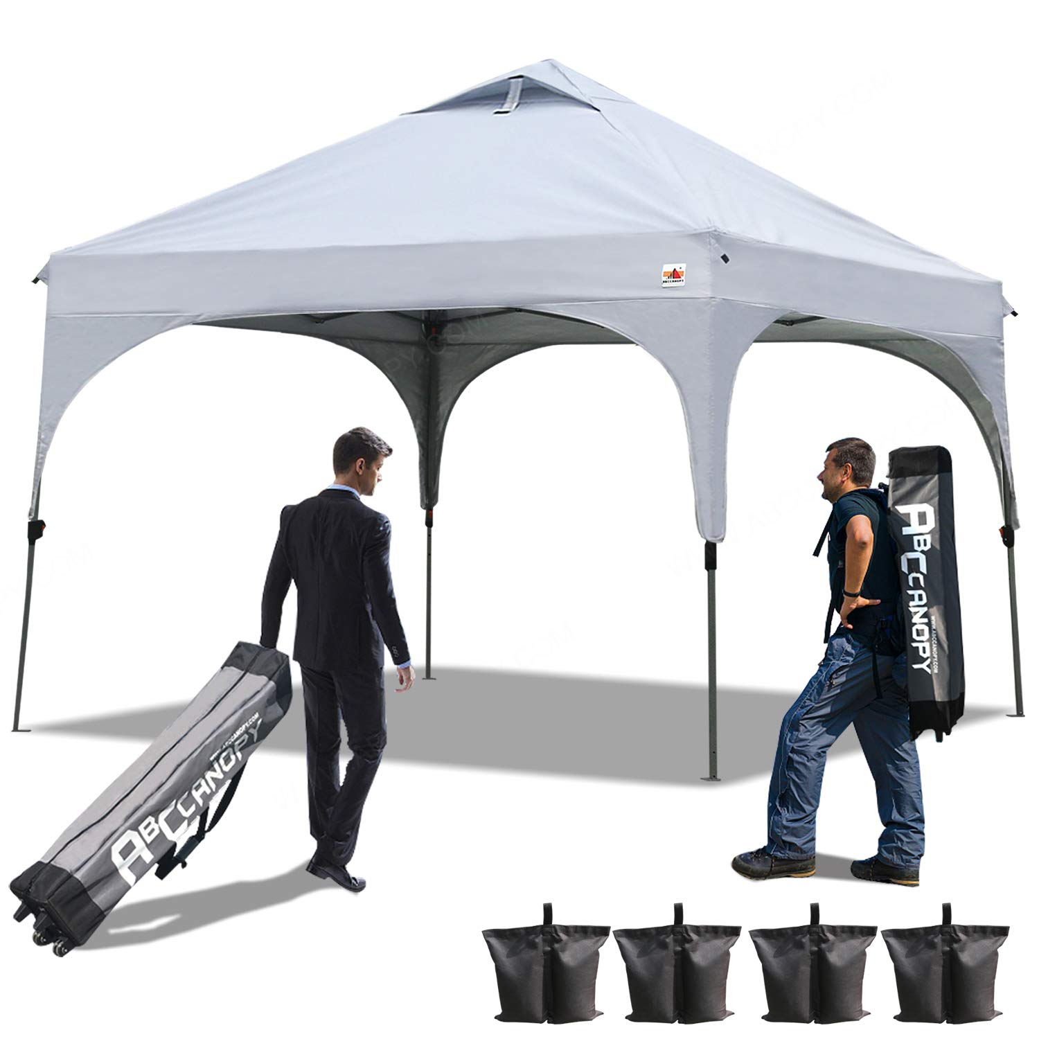ABCCANOPY Pop Up Canopy Beach Canopy 10'x10'Better Air Circulation Canopy with Wheeled Backpack Carry Bag+4 x Sandbags, 4 x Ropes& 4 x Stakes(Forest Green with Frame Gray)