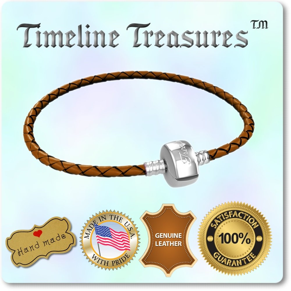Timeline Treasures Charm Bracelet For Women, Steel and Braided Leather, Fits Pandora Charms, Barrel Snap Clasp, Pink 16.5 cm