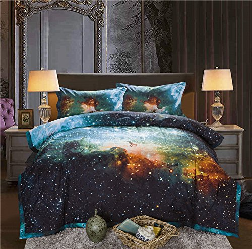 NTBED Galaxy Comforter Set Full, Sky Oil Printing Outer Space Reversible Quilt Bedding Set (xk006, 79''x90'')