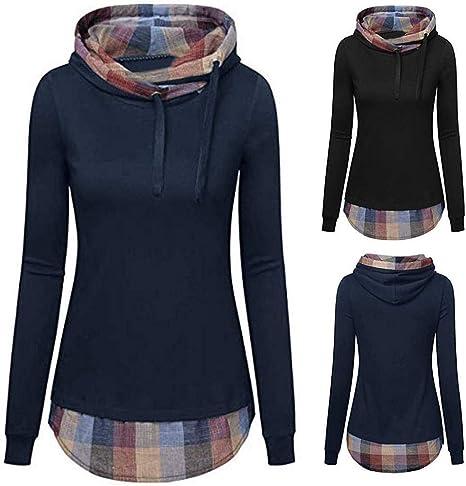 YEBIRAL damski sweter z kapturem z długim rękawem zimowy sweter bluza z kapturem w kratkę sweter z kapturem kołnierz Cross Over: Odzież
