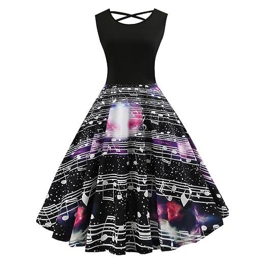 bc3a19fba34 Amazon.com  vmree Women Vintage 1950 s Elegant Music Print Hepburn Dress  Waisted Rockabilly Swing Sundress  Clothing