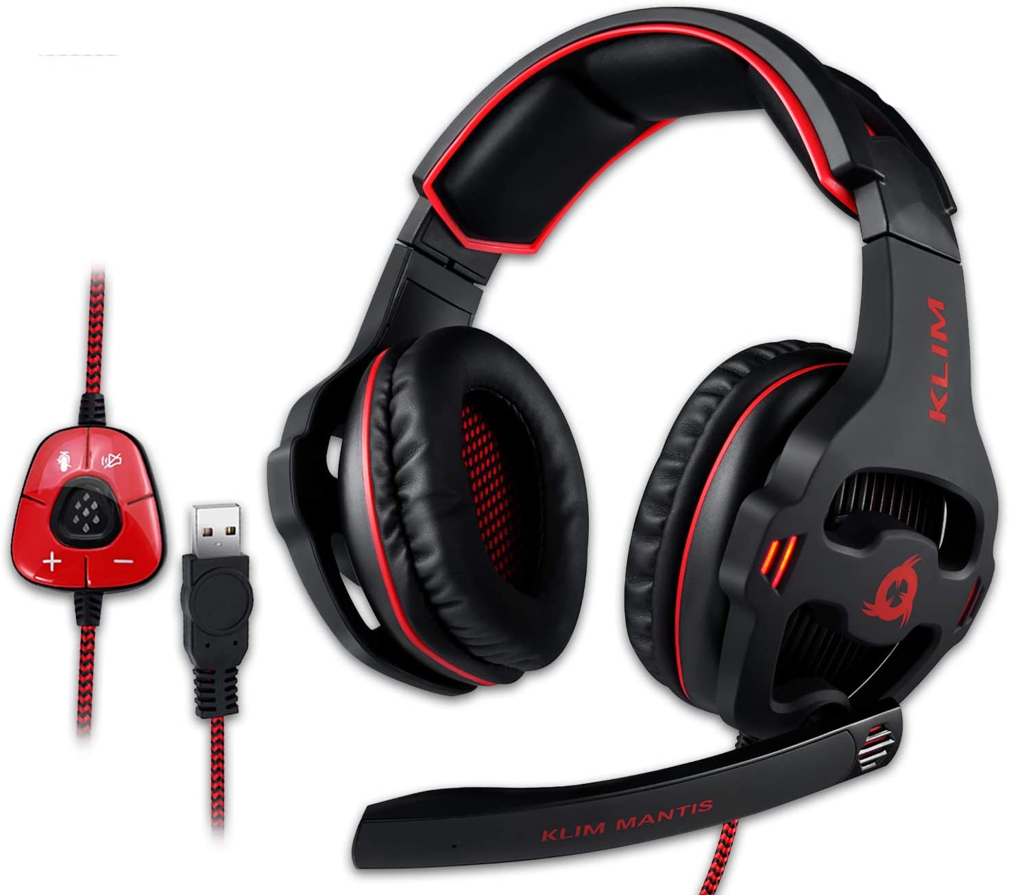 KLIM™ Mantis - Cascos Gaming con micrófono - Auriculares USB para PC, PS4, Nintendo Switch, Mac + Sonido Envolvente 7.1 con cancelación de Ruido pasiva + NUEVOS 2020