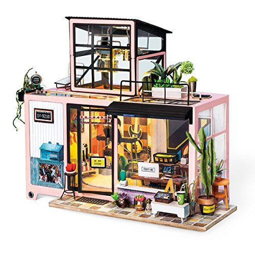 Rolife Dollhouse DIY Miniature Room Set-Wood Craft Construction Kit-Wooden Model Building Toys-Mini Doll House-Creative Birthday Gifts for Boys Girls Women and Friends (Fashion Studio)