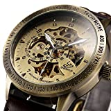 Mens watch,Self-Winding Automatic Mechanical watch,Classic Luxury Bronze Skeleton Leather Wrist Watch