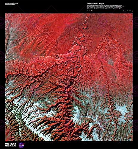 (Doppelganger33 Ltd Science Map Satellite Desolation Canyon Utah USA Replica Canvas Art Print)