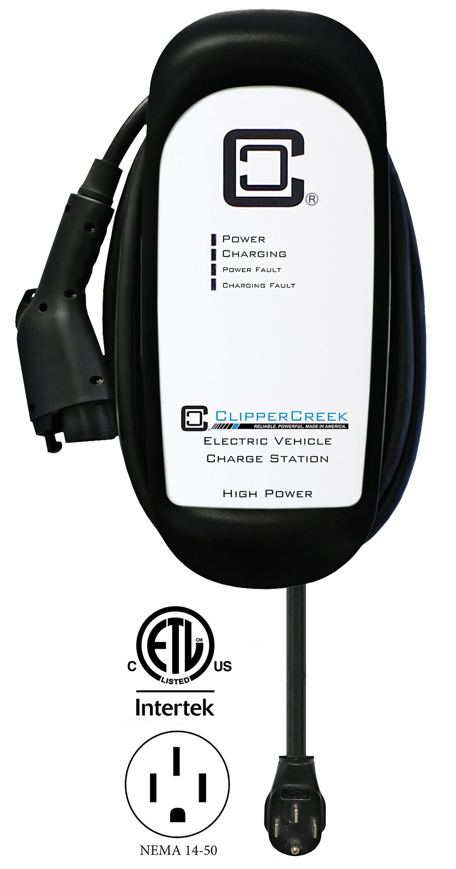 ClipperCreek HCS-40P, 240V, 32A, EV Charging Station, with 14-50 Plug, 25 ft Cable, Safety Certified, Made in America