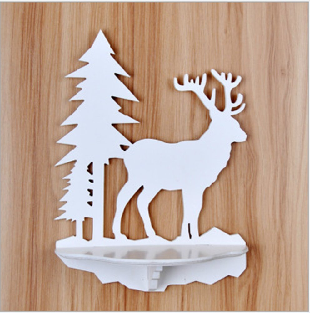 Luckym Christmas Deer Wall Mounted Floating Shelf Hanging Shelves White Wooden Animal Wall Decoration