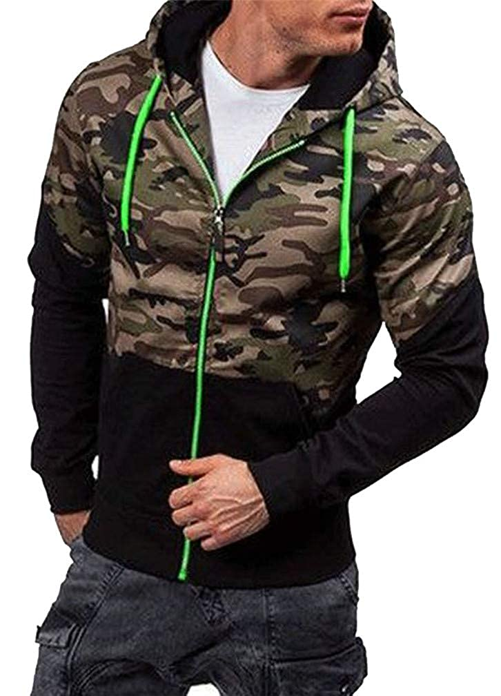 Pandapang Mens Running Cargo Drawstring Pocket Pullover Hooded Sweatshirts