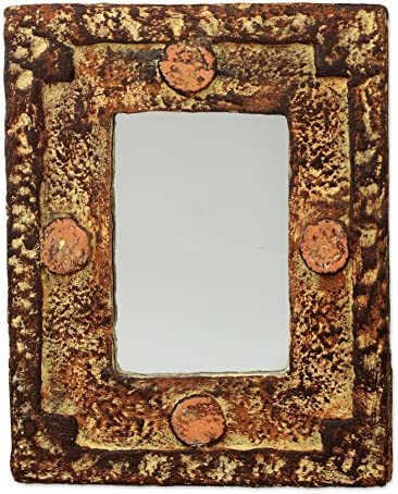 NOVICA Rustic Sese Wood and Sand Wall Mounted Rectangular Mirror, Hand of The Lord