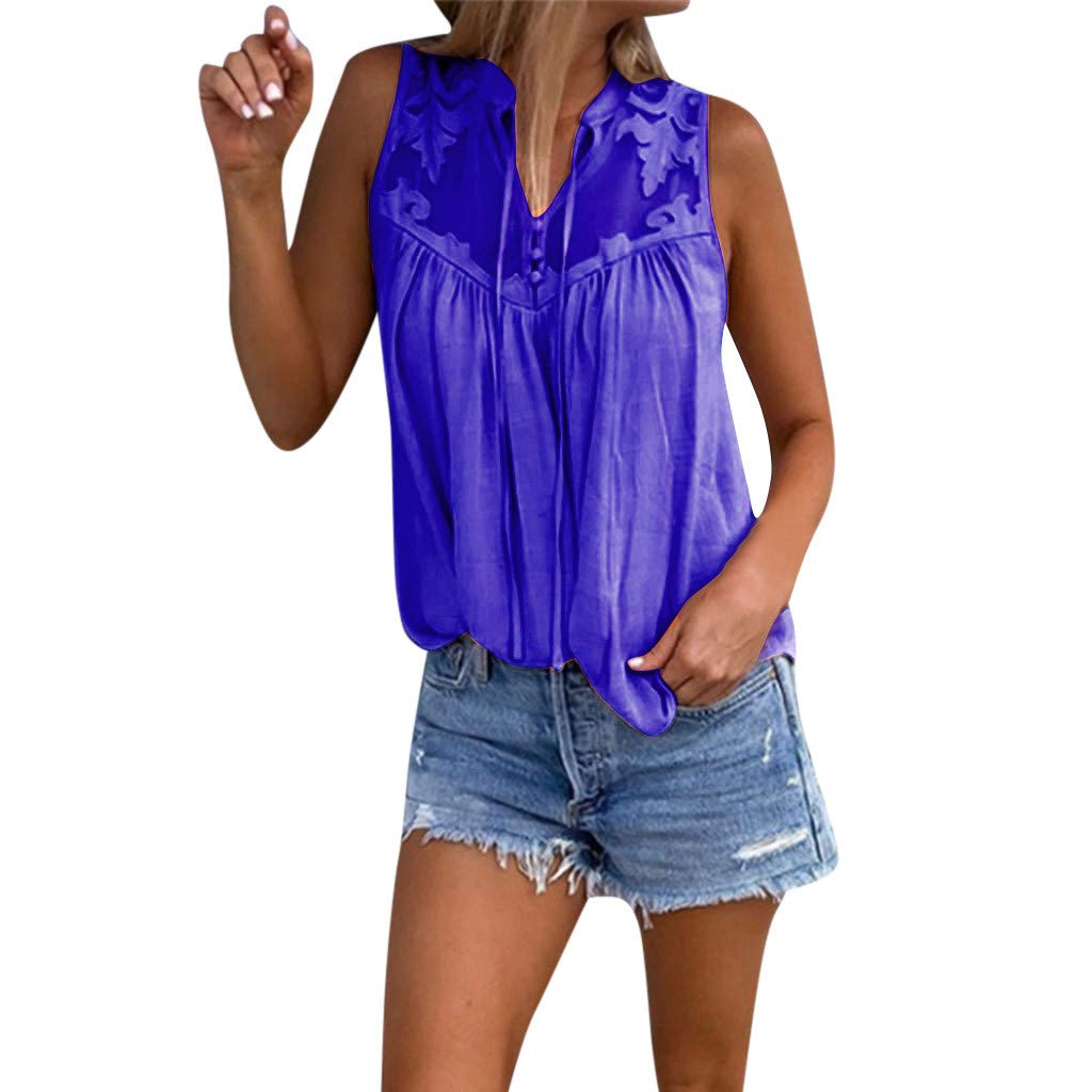 Tank Tops for Womens Camisole Teen Girls Chiffon Sleeveless T Shirt Stitching Lace V-Neck Tunic Cami Blouse 2019 Blue
