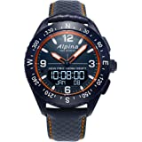 Alpina Men's AlpinerX Fiber Glass Swiss Quartz Sport Watch with Leather Calfskin Strap, Blue, 22 (Model: AL-283LNO5NAQ6L…