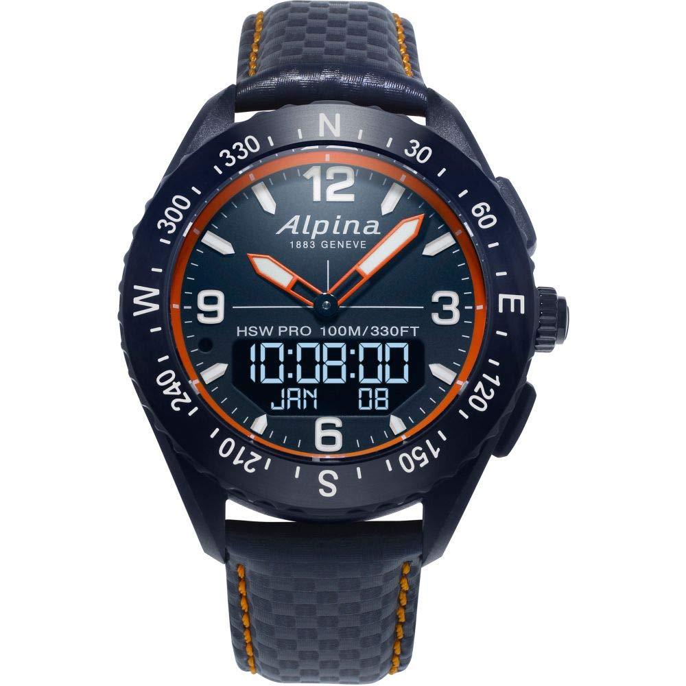 Image of Alpina Men's AlpinerX Fiber Glass Swiss Quartz Sport Watch with Leather Calfskin Strap, Blue, 22 (Model: AL-283LNO5NAQ6L) Sport Watches