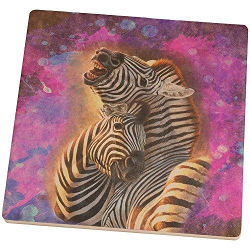 Zebra Lovers Splatter Square Sandstone Coaster Multi Standard One Size