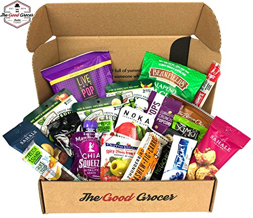 Premium GLUTEN FREE and DAIRY FREE Healthy Snacks Care Package (20 Ct): Bars, Chips, Crispy Fruit, Nuts Trail Mix, Gift Box Sampler, Variety Pack, College Student Care Package, Gift Basket Alternative