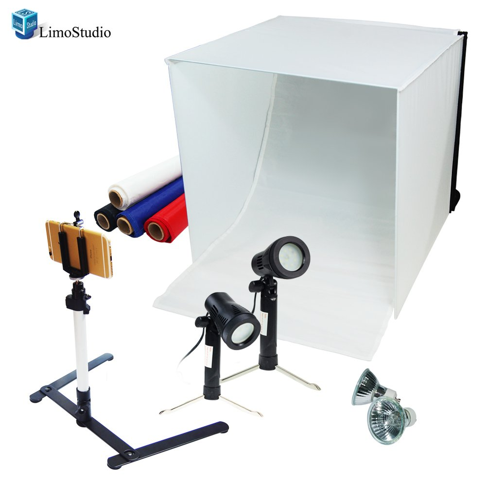 LimoStudio Table Top Photography Studio Light Tent Kit in a Box, 24'' Photo Tent, Camera Stand Tripod with Cell Phone Holder, LED Light Set, Mini Camera Stand, GU10 Light Bulbs, AGG1498V2