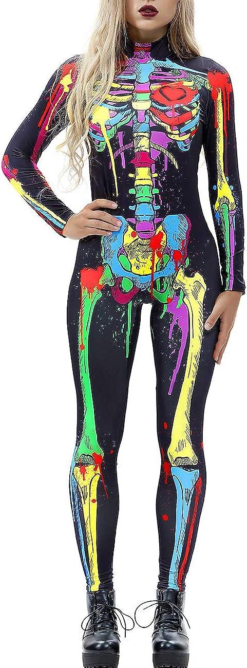 AIDEAONE Costume di Halloween Tuta da Donna Scheletro Tuta da Ossa Scheletro Abito Carnevale Carnevale