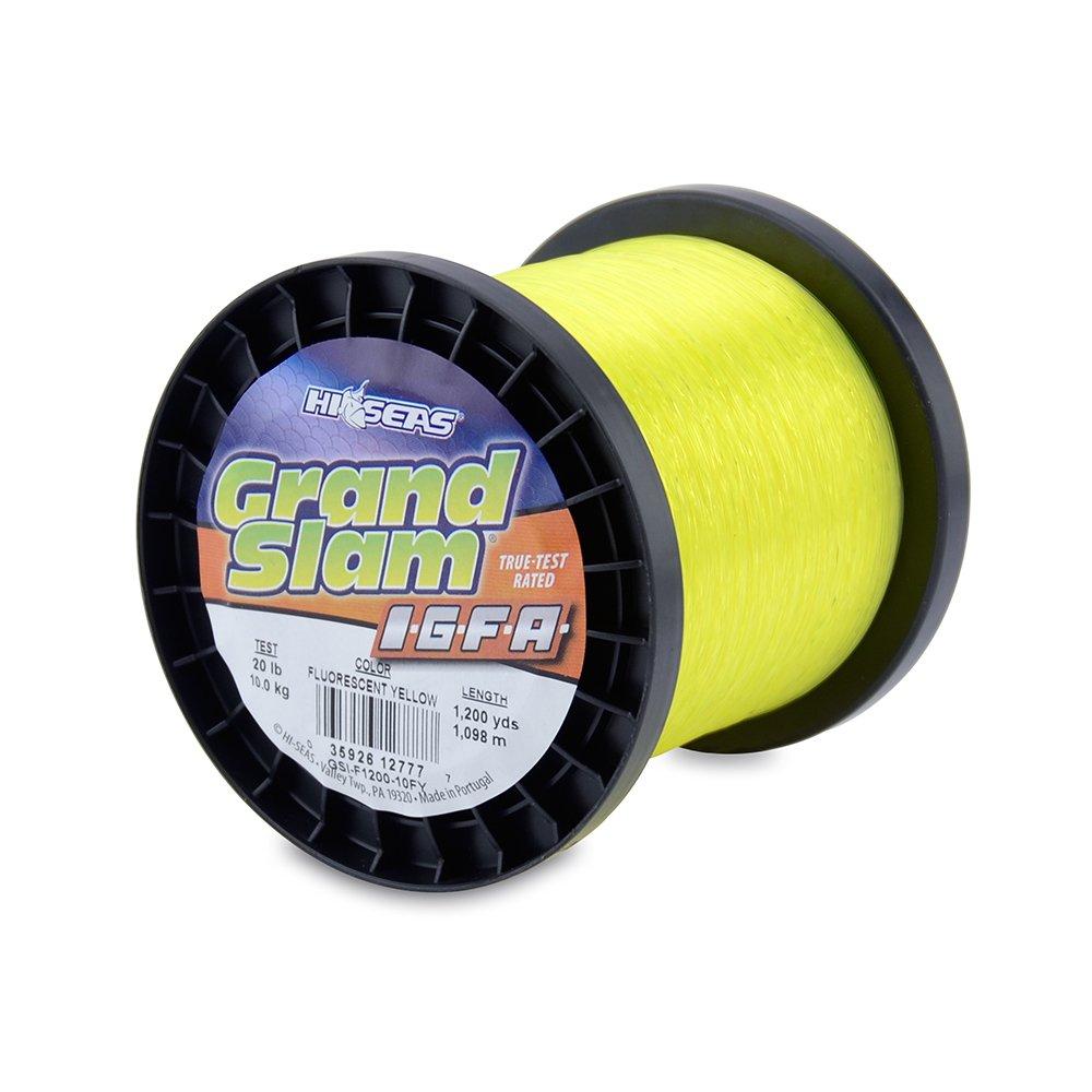 0.41 mm Test .016 in Diam Fluoro Yellow 1200 yd 1098 m 10 kg HI-SEAS Grand Slam IGFA Mono Line 20 lb