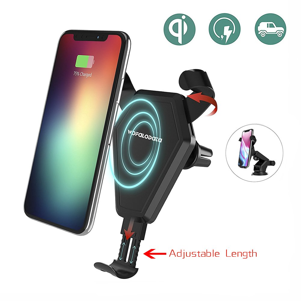 Fast Wireless Charger, Wofalodata Car Mount Air Vent Phone Holder Cradle for Samsung Galaxy S8/S8+/S7/S6 Edge+/Note 5, QI Wireless Standard Charge for iPhone 8/8 Plus/X ZL Wireless Car Charger