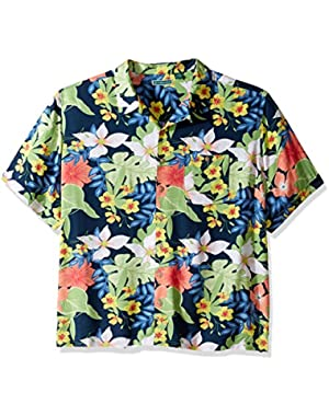 Men's Short Sleeve 100% Rayon Tropical Floral Print Cuban Camp Shirt