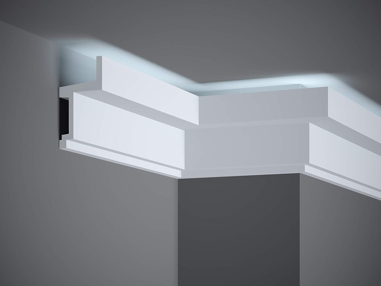 MARDOM DECOR Lichtleiste I MDB115 I Stuckleiste Wandleiste Deckenleiste I f/ür indirekte LED Beleuchtung konzipiert I 240 cm x 11,1 cm x 6,0 cm