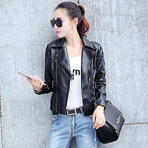 Imitation Cuir Automne Blouson Mode Veste Femme Moto Bigood Noir Zip Court AwqItRRW8