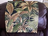 Chair Cover Recliner Pad Headrest Furniture Protector Canvas Palm Tree Black Print Indoor Outdoor Upholstery14X30 Sofas Loveseats Theater Seating Chaises