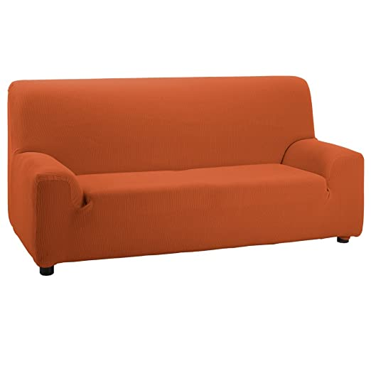 Funda de Sofá Elástica Modelo Camden, Color Naranja, Medida 5 Plazas – 270-320cm