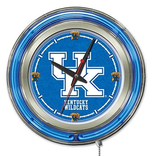Holland Bar Stool Company NCAA Kentucky Wildcats UK Double Neon Ring 15-Inch Diameter Logo Clock